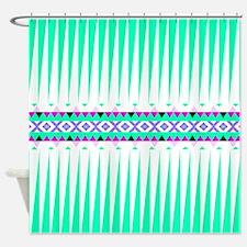 Mix #409, Mint Aztec Shower Curtain