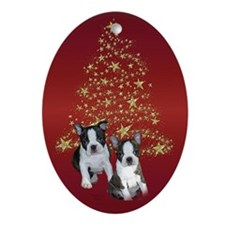 Boston Terrier Puppies Oval Ornament