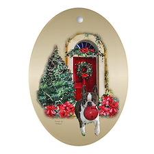 Boston Christmas Oval Ornament