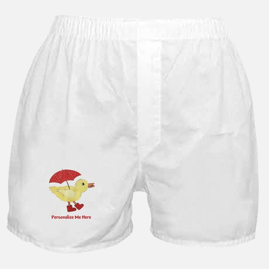 Personalized Duck in Boots Boxer Shorts