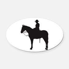 Canadian Mountie Silhouette Oval Car Magnet
