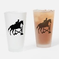 Horse Jumping Silhouette Drinking Glass