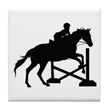 Horse Jumping Silhouette Tile Coaster