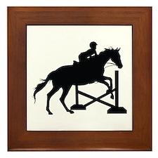 Horse Jumping Silhouette Framed Tile