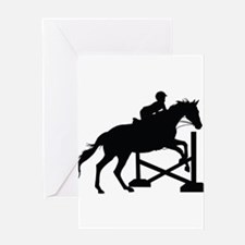 Horse Jumping Silhouette Greeting Card