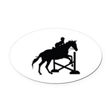 Horse Jumping Silhouette Oval Car Magnet