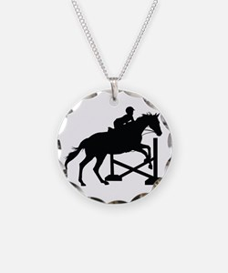 Horse Jumping Silhouette Necklace Circle Charm