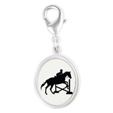 Horse Jumping Silhouette Silver Oval Charm