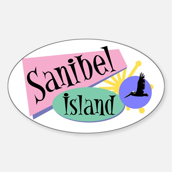 Sanibel Retro Pelicans - Oval Decal