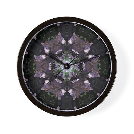 Black Bear Mandala Wall Clock