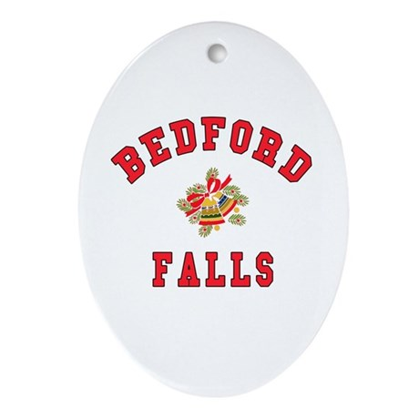 Bedford Falls w Christmas Bells Oval Ornament