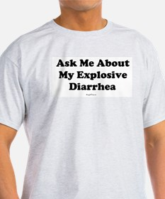explosive diarrhea black letters white background.