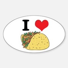 I Heart (Love) Tacos Oval Decal