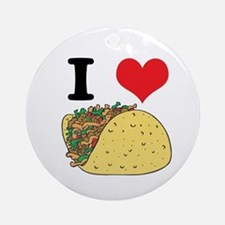 I Heart (Love) Tacos Ornament (Round)