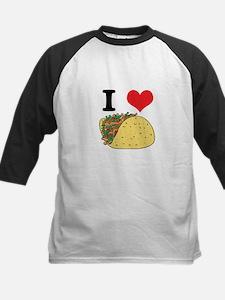 I Heart (Love) Tacos Kids Baseball Jersey