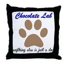 Just A Dog Chocolate Lab Throw Pillow
