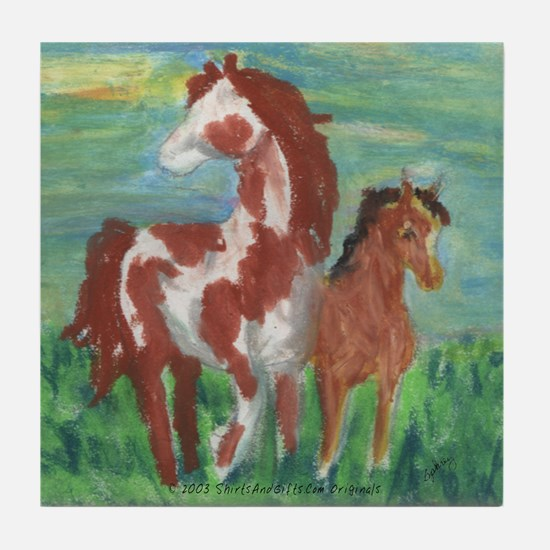 Horse And Colt Gift Tile Coaster