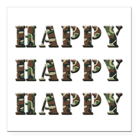 "Happy, Happy, Happy! Square Car Magnet 3"" x 3"""