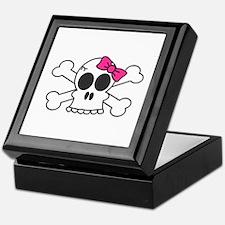 Cute Skull and Bones with Pink Bow Keepsake Box