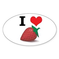I Heart (Love) Strawberries Oval Decal