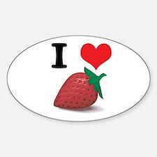 I Heart (Love) Strawberries Oval Decal