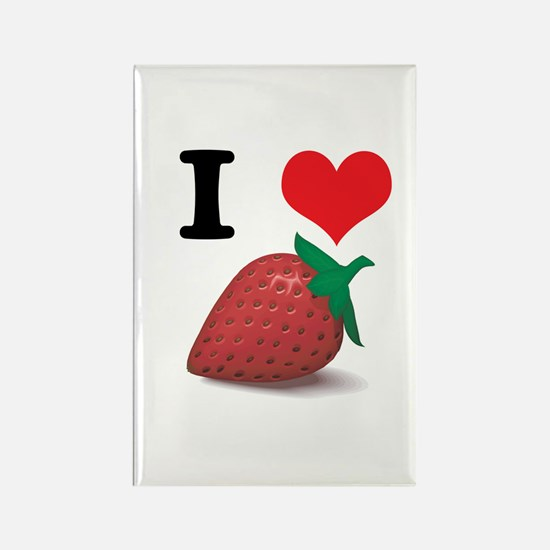 I Heart (Love) Strawberries Rectangle Magnet