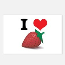 I Heart (Love) Strawberries Postcards (Package of