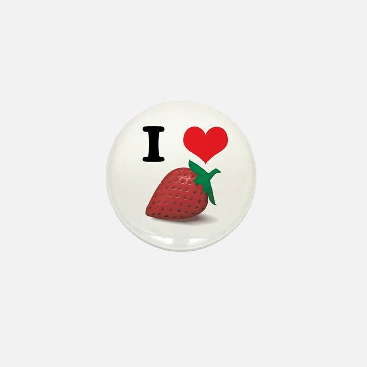 I Heart (Love) Strawberries Mini Button