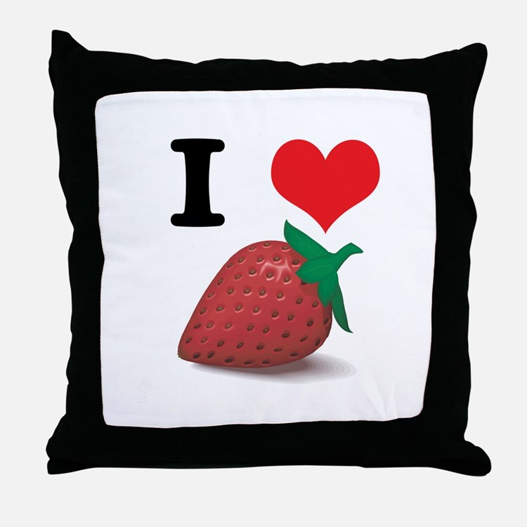 I Heart (Love) Strawberries Throw Pillow