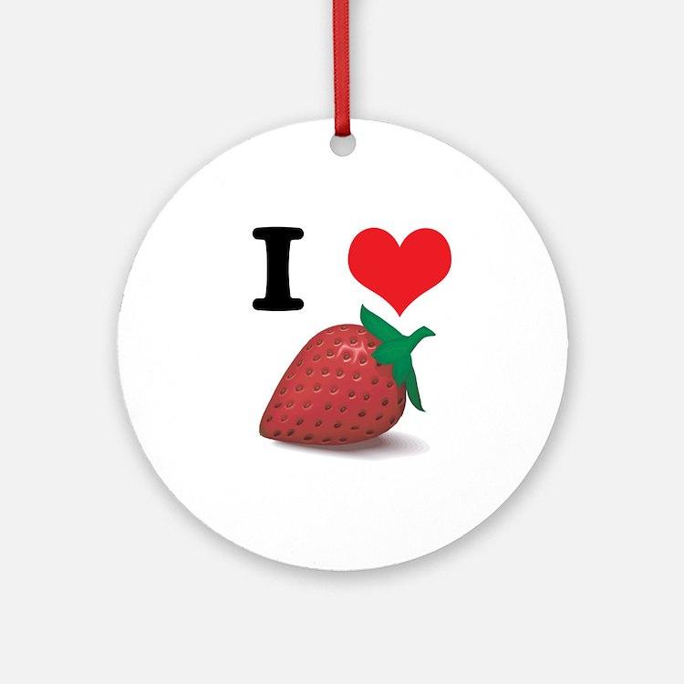 I Heart (Love) Strawberries Ornament (Round)