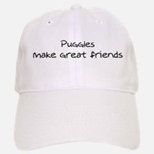 Puggles make friends Baseball Baseball Cap