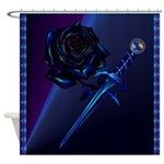 Black Rose and Dagger Shower Curtain
