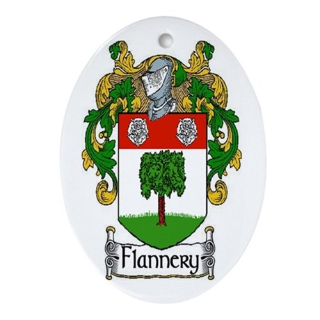 Flannery Coat of Arms Oval Ornament