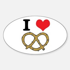 I Heart (Love) Pretzels Oval Decal