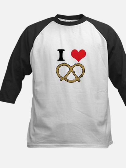 I Heart (Love) Pretzels Kids Baseball Jersey