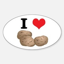 I Heart (Love) Potatoes Oval Decal