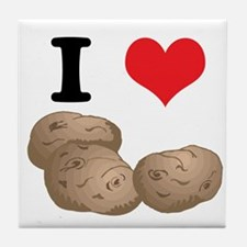 I Heart (Love) Potatoes Tile Coaster