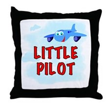 Blue Plane Little Pilot Throw Pillow
