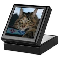 Tile Top Box with cute cat picture.
