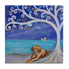 Golden Retriever Spiritual Tree Tile Coaster
