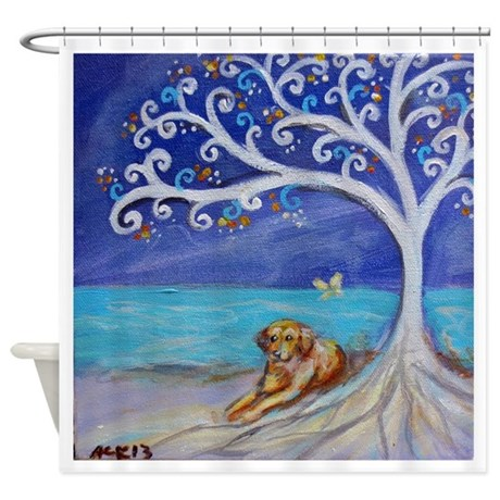 Golden retriever spiritual tree shower curtain by for Spiritual shower