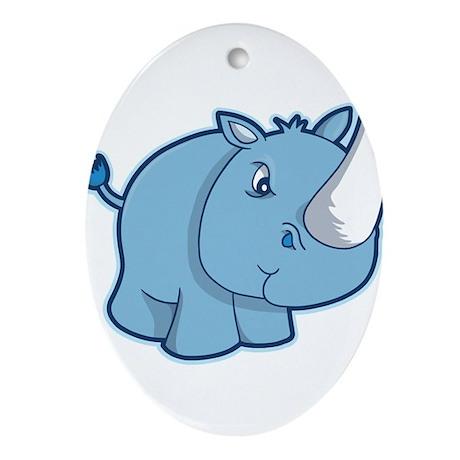Blue Rhino Ornament (Oval)