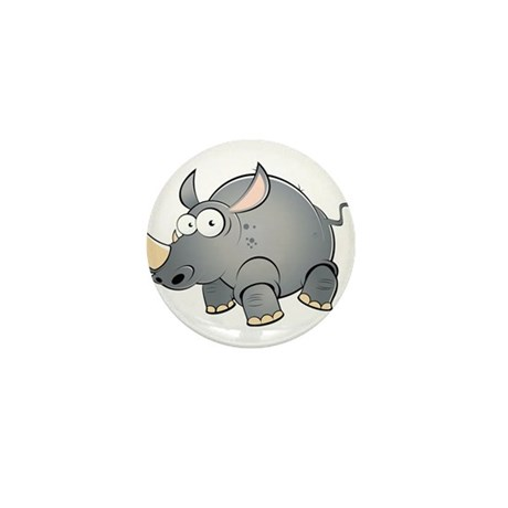 Silly Cartoon Rhino Mini Button (100 pack)