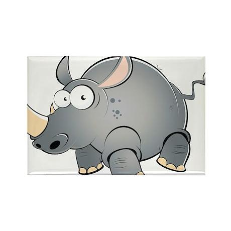 Silly Cartoon Rhino Rectangle Magnet