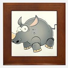 Silly Cartoon Rhino Framed Tile
