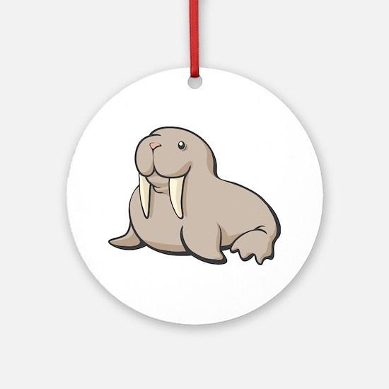 Cartoon Walrus Ornament (Round)