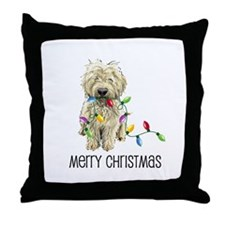 Doodle Christmas Lights Throw Pillow