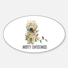 Doodle Christmas Lights Oval Decal