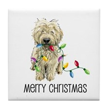 Doodle Christmas Lights Tile Coaster