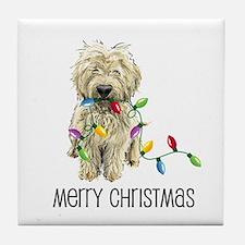 Doodle Christmas Lights Tile Coaster